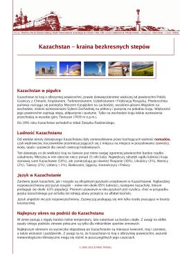 Kazachstan – kraina bezkresnych stepów