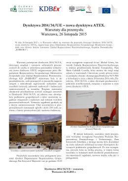 Warsztaty ATEX 2015 - sprawozdanie