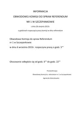 informacja obwodowej komisji do spraw referendum nr 1 w