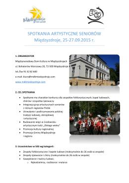 Spotkań Artystycznych Seniorów 2015 r.