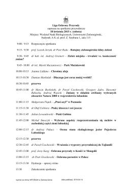 program spotkania - WFOŚiGW w Zielonej Górze