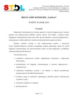 REGULAMIN KONKURSU - STDL - Uniwersytet Mikołaja Kopernika