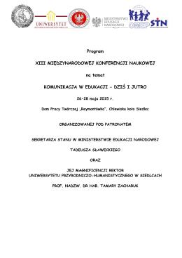 Program XIII MIĘDZYNARODOWEJ KONFERENCJI NAUKOWEJ na