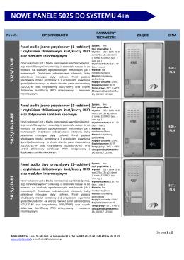 NOWE PANELE 5025 DO SYSTEMU 4+n