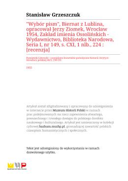 """""""Wybór pism"""", Biernat z Lublina, opracował Jerzy Ziomek, Wrocław"""