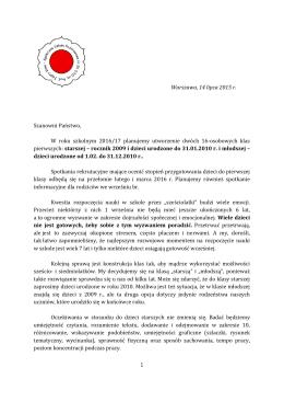 Warszawa, 14 lipca 2015 r. Szanowni Państwo, W roku szkolnym