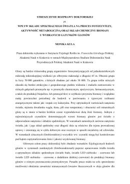STRESZCZENIE ROZPRAWY DOKTORSKIEJ pt. WPŁYW SKŁADU