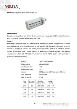 ELIPTO – energooszczędne źródło światła LED Zastosowanie