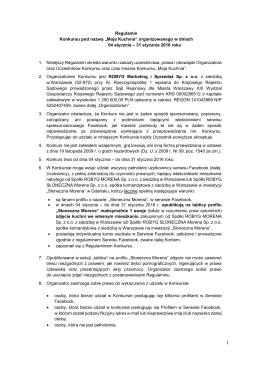 """Regulamin Konkursu pod nazwą """"Moja Kuchnia"""" organizowanego w"""