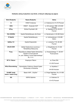 Dokładne adresy budynków oraz klinik, w których odbywają się