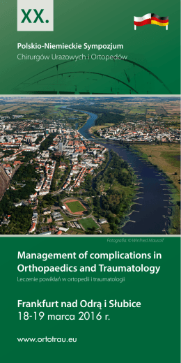 Management of complications in Orthopaedics and Traumatology