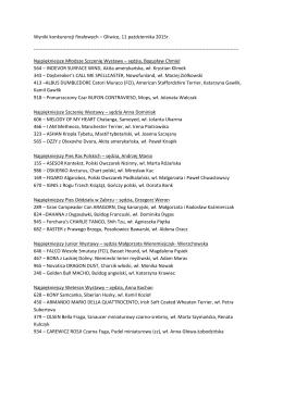 Wyniki konkurencji finałowych - Zabrze październik