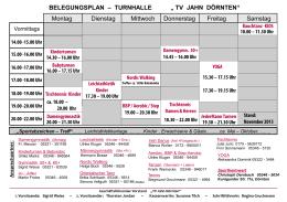 """BELEGUNGSPLAN – TURNHALLE """" TV JAHN DÖRNTEN"""" Montag"""