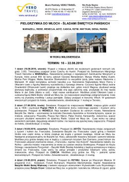 Włochy – śladami świętych Pańskich