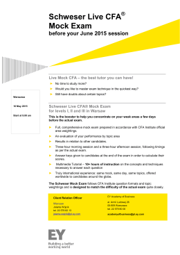 Schweser Live CFA Mock Exam - Ernst & Young Academy of Business
