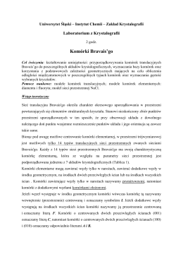 Komórki Bravais`go - Uniwersytet Śląski