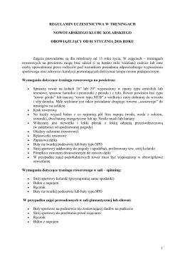 Regulamin - Nowotarski Klub Kolarski