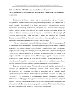 Porządkowanie spuścizn zawierających dokumenty elektroniczne