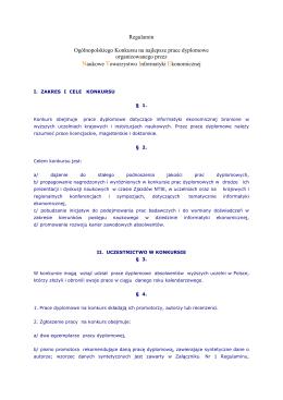 Regulamin Ogólnopolskiego Konkursu na najlepsze prace