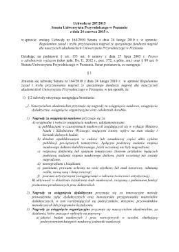 Uchwała nr 287/2015 Senatu Uniwersytetu Przyrodniczego w