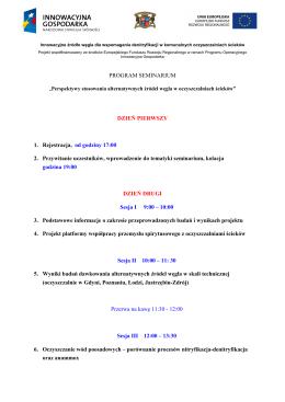 PROGRAM SEMINARIUM DZIEŃ PIERWSZY 1. Rejestracja