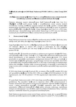 Zwięzła ocena sytuacji Spółki za 2014 rok dokonana przez Radę