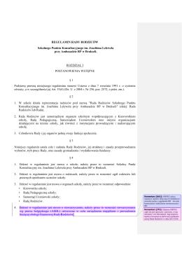 REGULAMIN RADY RODZICÓW - Szkolny Punkt Konsultacyjny im