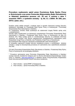 Procedura wydawania opinii - Powiatowy Urząd Pracy w Kościerzynie