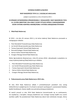 UCHWAŁA NUMER 01/RN/2015 RADY NADZORCZEJ TOYA S.A. Z