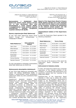 Sprawozdanie z działalności Rady Nadzorczej