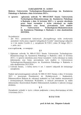 ZARZĄDZENIE R - 14/2015 Rektora Uniwersytetu Technologiczno