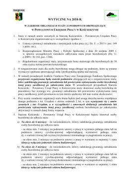 Wytyczne staż - 18.01.2016 r. - Powiatowy Urząd Pracy w Kościerzynie