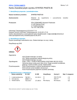 PPH CERKAMED Karta charakterystyki wyrobu SYNTEX PASTA B