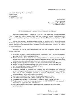 Propozycje do budżetu Miasta Tarnowskie Góry na