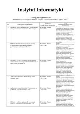 Studia stacjonarne I stopnia (dzienne)