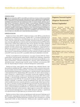 Modyfikacje oksydoredukcyjne reszt cysteinowych białek roślinnych