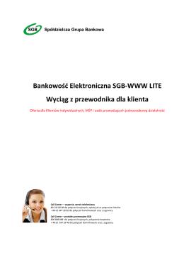 Bankowość Elektroniczna SGB-WWW LITE Wyciąg z przewodnika