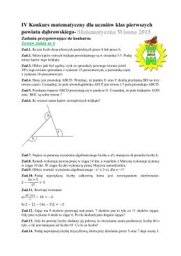 IV Konkurs matematyczny dla uczniów klas