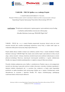 informacja o Projekcie 6.2. - Lotnisko Targor Flight Club