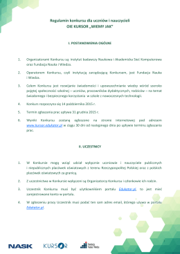 Regulamin konkursu dla uczniów i nauczycieli OIE