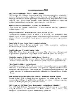 Inwestycje azjatyckie w WSSE AKS Precision Ball Polska