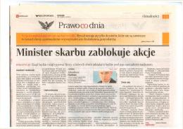 """Minister skarbu zablokuje akcje"", Rzeczpospolita z dnia 23.7.2015"