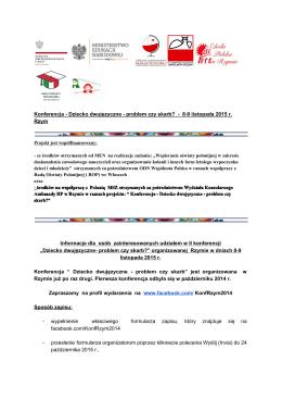 Konferencja Dziecko dwujęzyczne problem czy skarb? 89 listopada