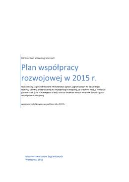 Plan współpracy rozwojowej w 2015 r.
