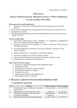 Plan pracy Szkoły Podstawowej im. Bolesława Prusa w