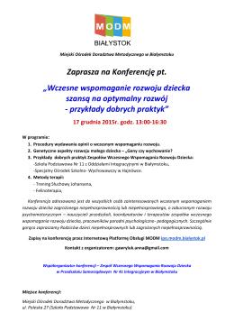 """Zaprasza na Konferencję pt. """"Wczesne wspomaganie rozwoju"""