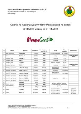Cennik na nasiona warzyw firmy MoravoSeed na sezon 2014/2015