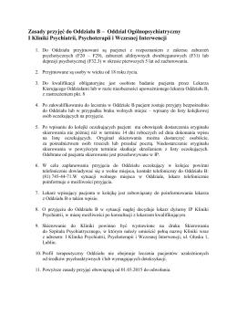 Zasady przyjęć do Oddziału B – Oddział