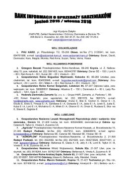 Oferta ze zbioru w roku 2015 - O Zakładzie Nasiennictwa i Ochrony