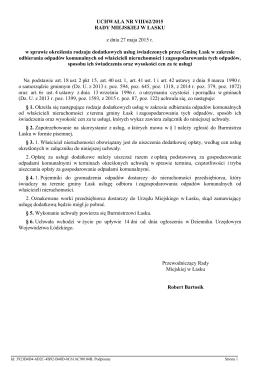 Uchwała Rady Miejskiej w Łasku w sprawie określenia rodzaju